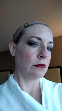 Putting on the Evil Queen makeup makes me feel like I'm getting ready for a stage performance.