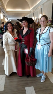 My crew ready for the convention to start. (Rhonda as Snow White, Meagan as Belle, me as the Evil Queen)