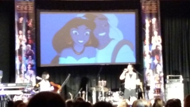 "Prince Eric and Princess Jasmine singing ""A Whole New World"""
